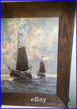 Vintage Oil Painting on Canvas Ships Signed D. Storm sails heavy oil nautical