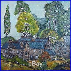 Vintage Oil Painting on Canvas-THE WALNUT TREE Landscape-Signed Francis Dempsey