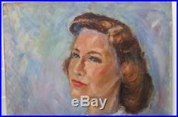 Vintage Oil Portrait MID-CENTURY Impressionist Woman WHITE Sweater Signed 1960s