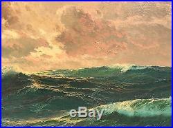Vintage Oil Seascape Painting Original Ornate Gold Frame Signed