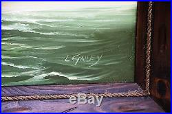 Vintage Oil on Canvas 24x36 Original Painting Clipper Tall Ship Signed L. Gailey