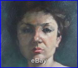 Vintage Oil on Canvas Portrait of Beautiful Woman Semi-Nude, Signed