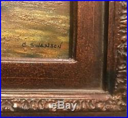Vintage Oil on Canvas Sheep Painting Beautifully Wood Framed & Signed C. Swanson
