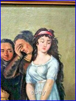 Vintage Oil on Canvas Spanish Painting, Impertinence, by F. Estevez, 1946