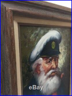 Vintage Old Sea Captain Oil on Canvas Painting Signed Bensoon With Wood Frame