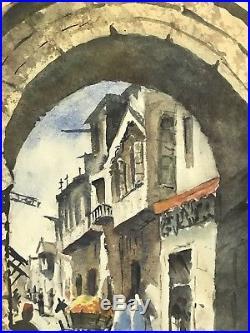Vintage Old Streets of Jerusalem Israel Watercolor on Board Framed Signed