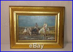 Vintage Orientalist Painting Arab Men On Horses Signed 20th C