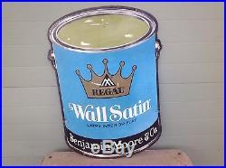 Vintage Original Benjamin Moore Regal Wall Satin Paint Bucket Die Cut Metal Sign