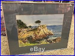 Vintage Original California Scene Watercolor Painting Signed Phillips Seascape