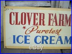 Vintage Original Clover Farms Puretest Ice Cream Painted Sign Bridgeport, CT
