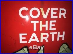 Vintage Original Embossed Sherwin Williams Paint Porcelain Sign Cover The Earth