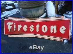 Vintage Original Firestone Tire Bow Tie Metal Painted Sign 71 1/2x23 1/2 RARE