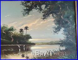 Vintage Original Florida Highway Men Oil Painting Signed S. Newton Framed