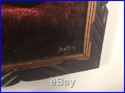 Vintage Original Framed Black Velvet Picture Naked Female Nude Large Signed