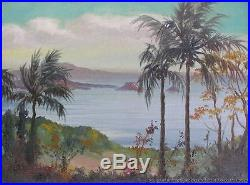 Vintage Original Framed Signed Castro Listed Oil Painting Tropical Seascape