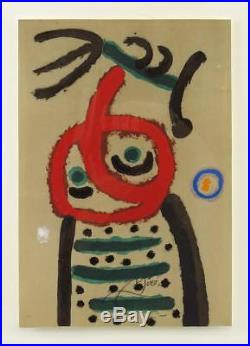 Vintage Original Hand Colored Pochoir Lithograph by Joan Miro Signed with Pencil