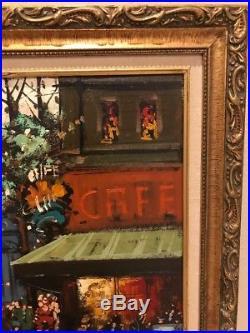 Vintage Original Henri Renard Oil Painting Canvas Paris France Cafe Signed