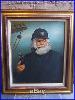 Vintage Original Kim Benson Signed Sailor-sea Captain Oil On Canvas-painting