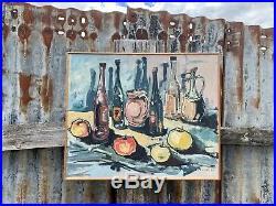Vintage Original Mid Century Modern Oil Painting Still Life Framed Signed