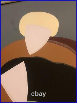 Vintage Original Midcentury Modern Eskimo Abstract Geometric Oil Painting Signed