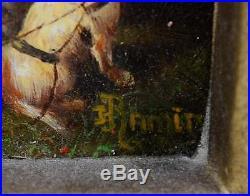 Vintage Original Oil On Board Painting Signed Ramirez Ornate Framed Pastoral