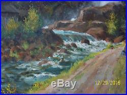Vintage Original Oil On Canvas Landscape Painting Artist Signed