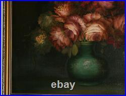 Vintage Original Oil On Canvas Still Life Painting Signed Preston 27x22.5