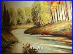 Vintage Original Oil Painting Autumn Landscape Signed A. Sal Trees Stream