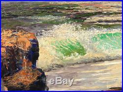 Vintage Original Oil Painting Morris Katz 1962 Seascape 46x24 Ocean Waves Listed