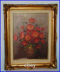 Vintage Original Oil Painting On Canvas Potted Flowers, Ornate Frame, Signed
