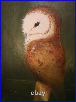 Vintage Original Oil Painting Owl Signed Impressionist