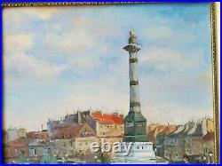 Vintage Original Oil Painting Parisian Paris Street Scene Fountain Impressionist