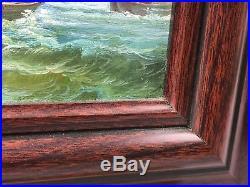 Vintage Original Oil Painting Sailboat Boat Ship Ocean Signed T. Bishop