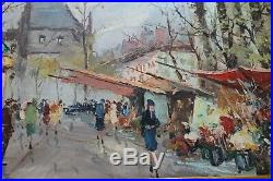 Vintage Original Oil Painting Signed S. Burnett Framed Paris Street Scene