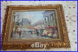 Vintage Original Oil Painting Signed S. Burrnet Framed Paris Street Scene