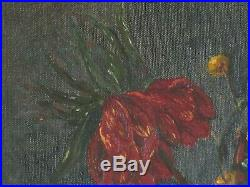Vintage Original Oil Painting Still Life Floral STUNNING on Canvas Signed 22x28