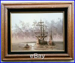 Vintage Original Oil Painting by Listed Artist C. ALEXIS Tall Ship Seascape Art