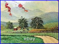 Vintage Original Oil Painting of a Flame Tree by Puerto Rican Artist Ramon Morin