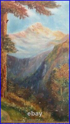 Vintage Original Oil Painting on Board by Hedges Framed 1928 Mountain Landscape