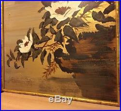 Vintage Original Oil Signed Asian Bird Lotus Flowers Gold Canvas Lee Reynolds