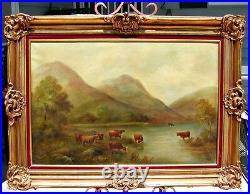 Vintage Original Oil, W. Nottey (1821-1867), Bucolic Landscape, Cows, Framed