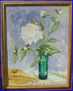 Vintage Original Oil on Canvas Floral Still Life Painting Signed, Framed