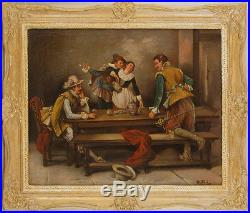 Vintage Original Oil on Canvas Genre Painting Oil Painting Illegibly Signed