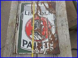 Vintage Original PORCELAIN ABRAHAM LINCOLN PAINTS Advertising FLANGE SIGN
