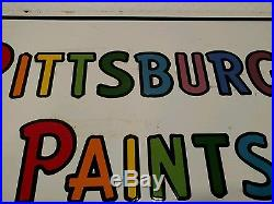 Vintage Original Pittsburgh Paints Double Sided Porcelain Flange Sign