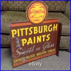 Vintage Original Pittsburgh Paints Large flange sign Very Rare old sign