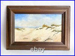 Vintage Original Seascape Beach Oil Painting Wood Frame Signed By Betty Craig