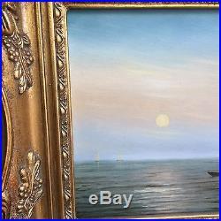 Vintage Original Seascape Oil Painting Signed