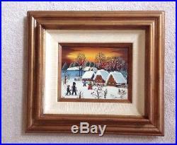 Vintage Original Signed Folk Art Oil Board Painting KOWALSKI Winter Snow Scene