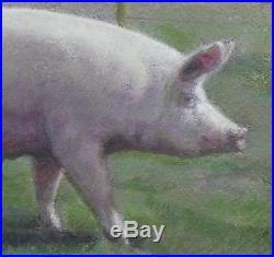 Vintage Original Signed STERE GRANT Pig Oil Painting & Gold Frame, NR